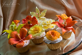 Orange and yellow floral cupcakes