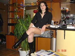 bianca 041 (Gluesniffer) Tags: home beautiful beauty leather breasts girlfriend legs boots skirt upskirt bianca miniskirt leatherboots