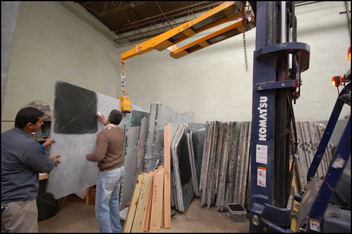 Our black venata slab being pulled out at M. Teixeira Soapstone