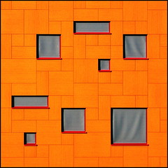 Agent orange (Maerten Prins) Tags: windows orange abstract wall architecture composition nijmegen square university expo yes radboud