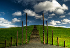 Stairway to Heaven (GaryTumilty) Tags: wood blue sky cloud white green grass writing concrete shadows text hill steps poles polarizer hdr cpl seaham polariser skygate daltonpark d80 1raw5exposures
