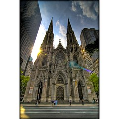 St. Patrick's Cathedral (sunsurfr) Tags: nyc newyorkcity urban sun newyork building church architecture clouds sunrise buildings cathedral manhattan structures stpatrickscathedral landmark structure d200 gotham neogothic hdr photomatix supershot diamondclassphotographer sunsurfr