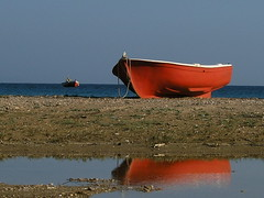 Learning to add and divide. (fresh_meltemi) Tags: blue red sea reflection beach boats islands seaside fishing freshmeltemi