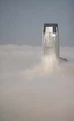 Goldman Sachs Building in the fog (AnalogKid203) Tags: sky usa reflection building weather fog newjersey nikon jerseycity nj 1870mmf3545g jersey d200 nikkor prudential hoboken