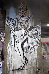 Pope Benedict as Marilyn Monroe by Dolk (greenwood100) Tags: urban streetart pope london art church graffiti stencil catholic wind marilynmonroe satire religion banksy tunnel waterloo wicked crucifix blasphemy subversive ratzinger lambeth dolk papacy popebenedict popebenedictxvi satirical pontif sevenyearitch dolklungren josephaloisratzinger leakestreet cansfestival upcoming:event=572837