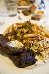 Grass fed skirt steak and frittes, blue cheese butter & organic veggie slaw 25, Annabelle's Bar & Bistro, San Francisco