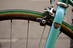 Tange (Jeremy Brooks) Tags: sanfrancisco california bike bicycle wheel turquoise spokes fork tire brakes brake