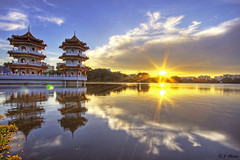 Pagoda Sunset (J.^2) Tags: sunset sky cloud lake reflection canon pagoda singapore flare chinesegarden jurong sunbeam j2 hdr jiangjiang themoulinrouge 3xp firstquality 400d jsquare