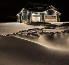 House at Night (Terry L Richmond) Tags: house new longexposure detail winter snow snowbanks home canon6d canon1740 alberta