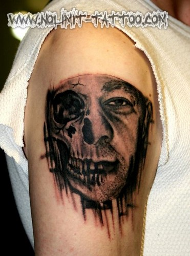 Skull-Face Tattoo; ← Oldest photo