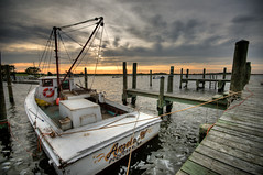 138/365 - angela w at sunset (djdphotos) Tags: sunset sky water virginia boat fisherman dock nikon unitedstates sigma va waterman hdr highdynamicrange 10mm poquoson d90 watermen photomatix project365 tonemapped