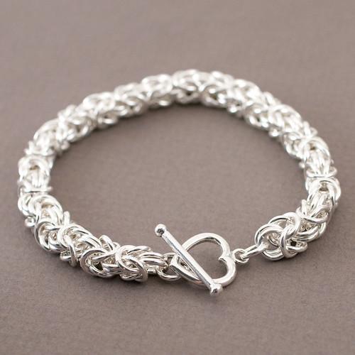 sterling silver byzantine chain maille bracelet
