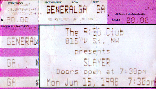 19980615 - Slayer ticket stub - 930 Club