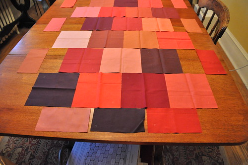 Layout of ogee quilt with half-ogees in place