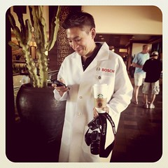 Project 365 131/365: Doesn't @BusyDadBlog look natural in this lab coat? #BoschEngineer
