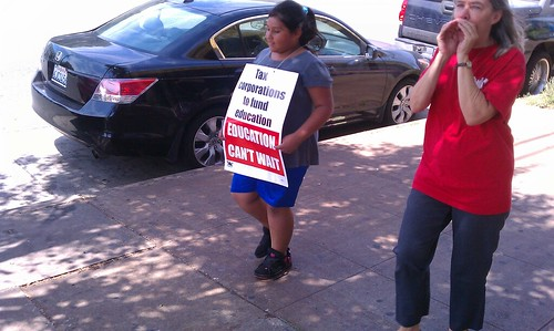 Nightingale Middle School teachers and student strike on May 13, 2011