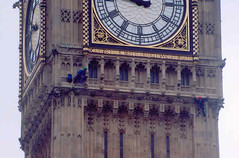 Protesters on Big Ben (H.e.l.e.n.) Tags: uk england london clock 2004 westminster protest greenpeace bigben scanned abseil