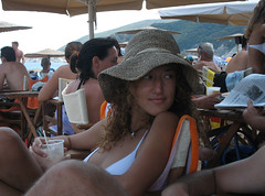 i can't take my eyes off of you... (SleEEpinGBeaUty) Tags: sea summer people girl hat looking time hellas greece resting ellada kalamitsi thessalonica    abigfave