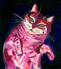 """Belly Rub"" acrylic cat painting by Jane Diamond (Jane (on break)) Tags: pink green smile abbey cat watercolor feline colorful acrylic purple bright jane kitty content diamond greeneyes etsy bold efa happycat tabbycat bellyrub catbelly catart felineart catpainting mixedmediapainting selftaughtartist smilingcat abbeydiamond janediamond artmewvodesigns paintingjanediamond etsyforanimals janediamonddesigns petportraipainting abbeyinspired wainesque bellyupcat louiswaininspiredcatpainting"