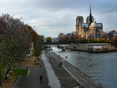 Notre Dame and the Seine (tvordj) Tags: paris seine architecture outdoors vanishingpoint cityscape churches cathedrals notredame panasonic thumbwrestling bigmomma riverscape gamewinner pfogold friendlychallenges fotocompetitionbronze agcgwinner medals09 storybookwinner preg