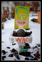 bowling ball, shoes and war (s o u t h e n) Tags: winter urban snow signs green art smile face prime nikon shoes war artist sink ryan michigan f14 14 detroit urbanart heidelberg d200 nikkor bowlingball artinstallation 2007 313 detroitmichigan motown heidelbergproject motorcity tyree 50mmprime guyton tyreeguyton nikond200 nikkor50mm14 southen ryansouthen heidelbergstreet exposuredetroit heidelbergst heidelberg122007