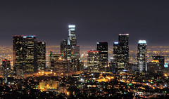 downtown los angeles skyline... (Joits) Tags: longexposure buildings losangeles skyscrapers nightshot griffithobservatory slowshutterspeed downtownlosangeles nikkor80200mmf28 aplusphoto platinumheartaward top20la