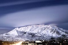 Mount Timpanogos - 02/08/08 (a4gpa) Tags: sunset mountain snow clouds nikon view post balcony 8 mount timpanogos multiple february 2008 exposures d300 50mmf14d my 9x30secondexposuresincamera