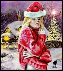 BIANCO NATALE (The PIX-JOCKEY (visual fantasist)) Tags: christmas xmas portrait snow hot cold art girl beauty night photoshop joke fake humour fantasy neve photomontage draw freddo aku disegno caldo fotomontaggi maglione sexz robertorizzato pixjockey