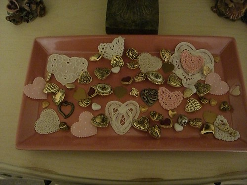 Tray with heart shaped buttons, etc.