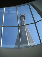 CN Tower seen from inside entrance (Leya :P) Tags: blue sky toronto canada tower window cntower goldenmix wonderfulworldmix spiritofphotography