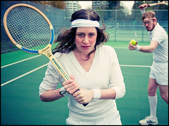 70's tennis, anyone? (HassleTheHoff) Tags: vancouver engagement retro tennis adidas windblown racquet kneesocks sweatbands 70sstyle bjornborg strobist offcamera580
