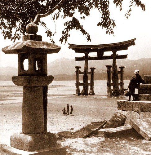 TORII and STONE LANTERN ON THE ISLAND OF MIYAJIMA -- A Nice 3-D Composition in Old Japan (Sorry, Only 2-D Here!)
