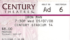 Iron Man ticket stub