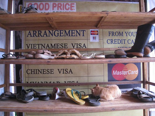It's customary to remove shoes before entering a Laos hotel or Guest House
