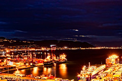 Salerno by nigt (Photos On The Road) Tags: city light sea urban italy panorama reflection water modern night port dark landscape outdoors lights harbor pier europa europe italia ship cityscape campania view harbour outdoor ships porto navi notte salerno luoghi orizzontale 5photosaday