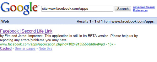 Search For Facebook Apps