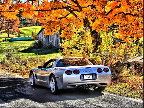 Fall drive in the country with a Corvette