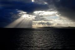 The show begins (AntonisP) Tags: show lighting sea sky seascape rain clouds dramatic mystical mystic raysoflight supershot diamondclassphotographer antonisp