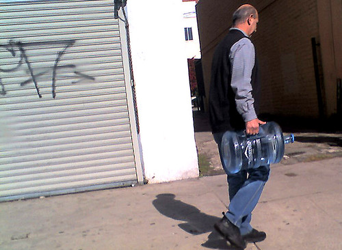 Man with bottled water in Hollywood