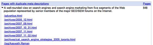 Google Webmaster Tools Content Analysis