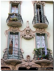 Small balconies / Balcones pequeos (. SantiMB .) Tags: barcelona espaa house building architecture casa spain arquitectura searchthebest balcony edificio artnouveau catalunya modernismo balcones eixample blueribbonwinner supershot abigfave travelerphotos overtheexcellence