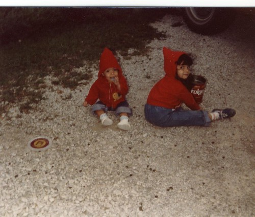 Crystal and Sarah as kids in red jackets