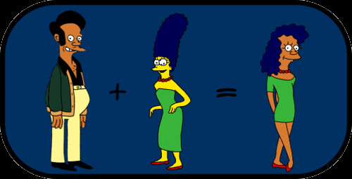 Apu and Marge in Simpsons