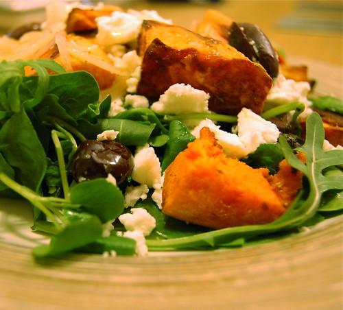 Spiced roast sweet potato and feta salad by creosotepolarbear