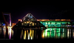 Smart Village's Pyramid @ Night (KoRaYeM) Tags: longexposure lake reflection building water colors architecture modern night digital canon dark geotagged 350d rebel xt lights iso100 pond pyramid pyramids 1855mm digitalrebelxt hdr merge hdri lightroom photogallery valeo 3xp photomatix flickrexplore f3556 30secs tonemapping aeb 1855mmf3556 tonemap smartvillage korayem geo:lat=30076001 geo:lon=3101406
