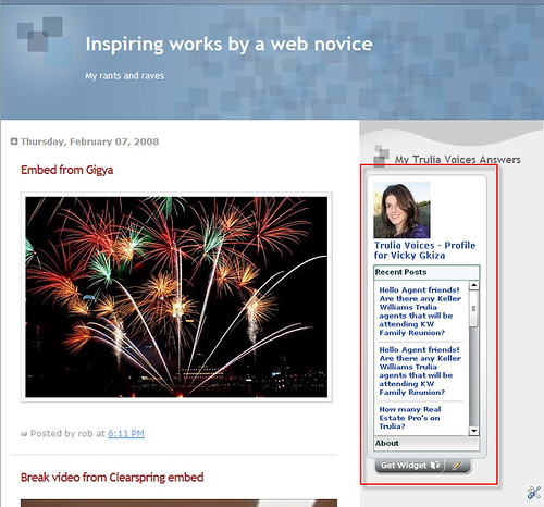 Voices widget on blogger