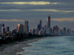 Sunset over Surfers Paradise (horrigans) Tags: blue sunset beach waves skyscrapers australia surfersparadise goldcoast panasoniclumixfz8 bestofaustralia
