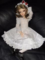 Famke proudly wearing her new Alice dress (fashiondollcrazy) Tags: ns bjd resin msd dz whitedress dollzone binli normalskin alicedress