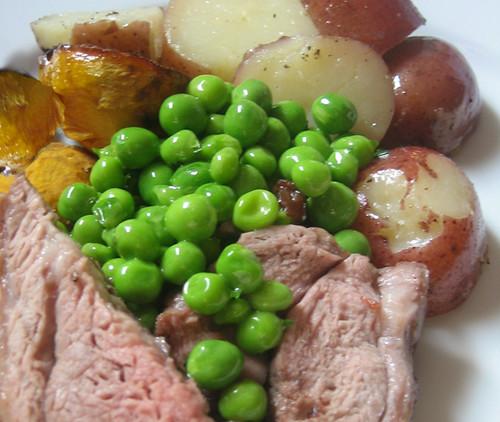 roast lamb with minted peas