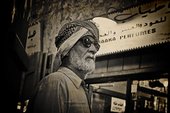 Proud.. with a Broken Face (Orangeya) Tags: old bw sun man guy broken proud vintage glasses poor dude lolo souq wagif ghetra soug thoub waqif orangeya ghtra